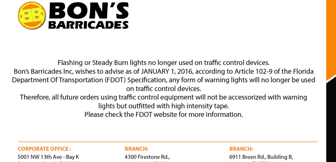 Flashing or Steady Burn lights no longer used on traffic control devices