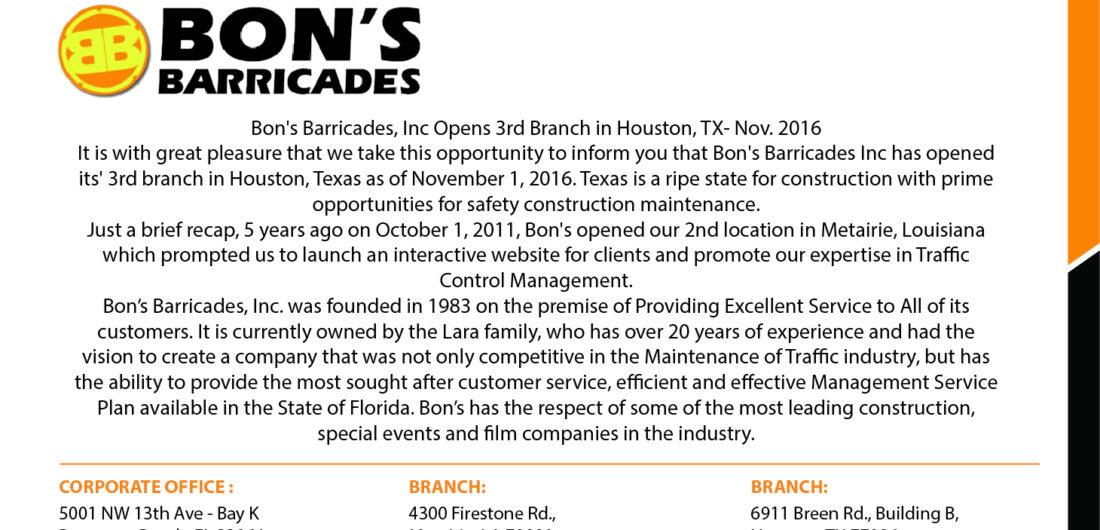 Bon's Barricades, Inc Opens 3rd Branch in Houston, TX-Nov. 2016