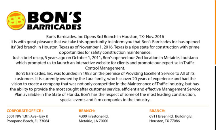 Bon's Barricades, Inc Opens 3rd Branch in Houston, TX-Nov. 2016