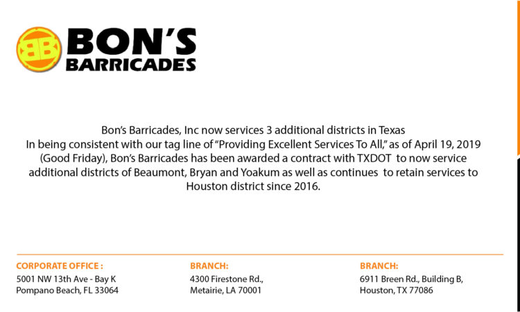 Bon's Barricades, Inc now Services 3 additional districts in Texas
