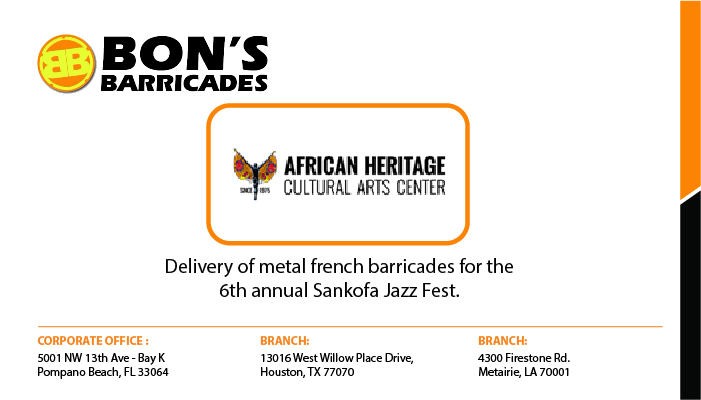Delivery of metal french barricades for the 6th annual Sankofa Jazz Fest.