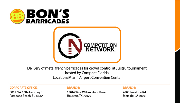 Delivery of metal french barricades for crowd control at Jujitsu tournament, hosted by Compnet Florida. Location: Miami Airport Convention Center